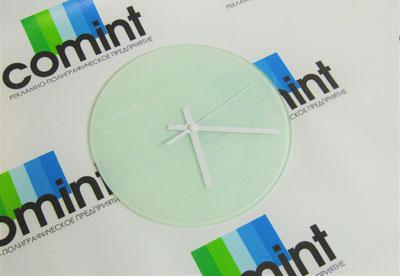 Стеклянные часы с логотипом фото
